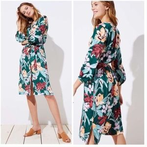 LOFT Print Midi Dress Size Large Tropical Flowers